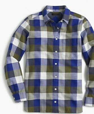 e828bbf38 NWT J. Crew Shrunken Boy Shirt In Moss Plaid 16 Button Front NEW Long  Sleeves
