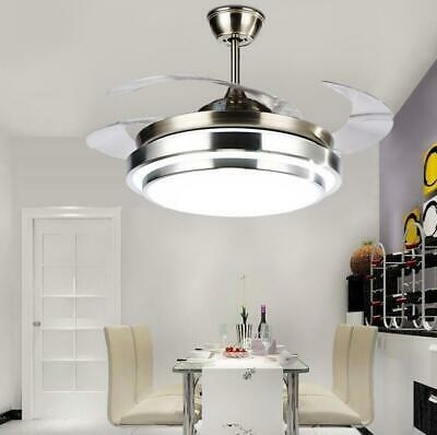 """Modern Invisible Ceiling Fan Lights LED Chandelier Fixtures+Remote 36"""" Decor"""