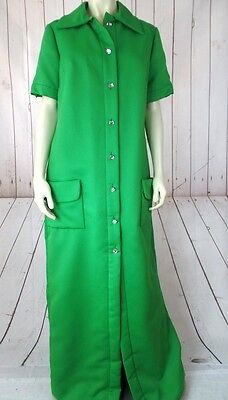VINTAGE Maxi Shirt Dress L Green Poly Blend Round Crystal Buttons Pockets RETRO!