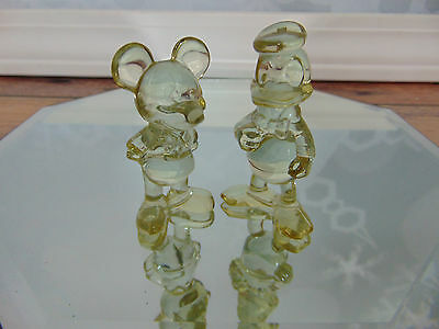 Vintage Walt Disney Productions LUCITE FIGURINES Mickey Mouse & Donald Duck EVC