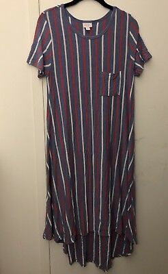06225dab62f LulaRoe Carly Dress Blue Red White Vertical Stripe High Low T Shirt Tunic  Small