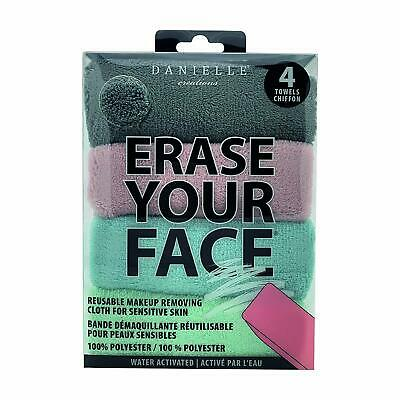 Danielle ERASE YOUR FACE SOFT COLOURS Reusable Makeup Removing Cloths pack of 4