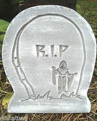 """Witch on broom tombstone concrete plaster plastic mold 11/"""" x 10/"""" x 1.25/"""" thick"""