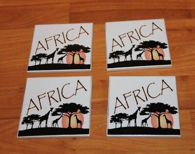 Africa ceramic tile drink coasters coffee table decor Handmade