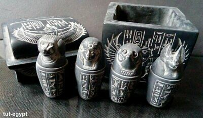 Ancient Egyptian Rare Antique Canopic Jars Sons Of Horus In Box Carved Stone BC