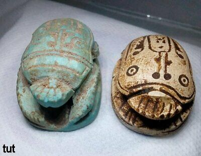2Rare Antique Egyptian Stone Scarab Beetle Amulet Figurine