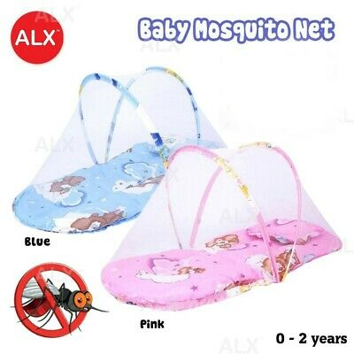 Pink Blue Baby Cartoon Foldable Crib Tent Bed Mosquito Netting Net Warm Cot