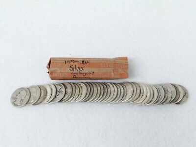 Roll Of $10 Face Value 90% Silver Washington Quarters, 40 circulated coins