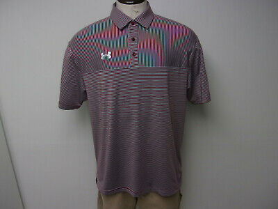 61c37c85 MEN'S UNDER ARMOUR Size Large Heat Gear SS Blue Striped Golf, Polo ...