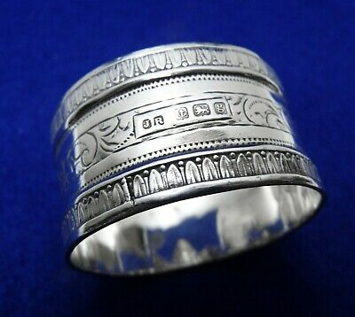 Antique Edwardian Sterling Silver Napkin Ring, Chased design, Hallmarked 1906/7