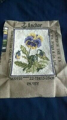 """Completed  Vintage Tapestry Of Flowers By Anchor/briggs Called """"pansy"""""""