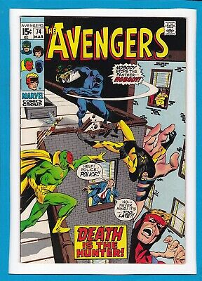 """Avengers #74_March 1970_Very Fine_Black Panther_Vision_""""death Is The Hunter""""!"""