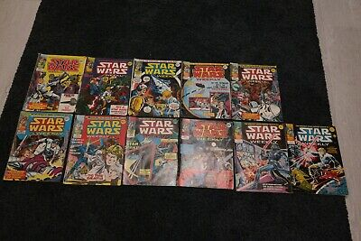 star wars weekly issues 2-12 some back covers missing , some have pieces cut out