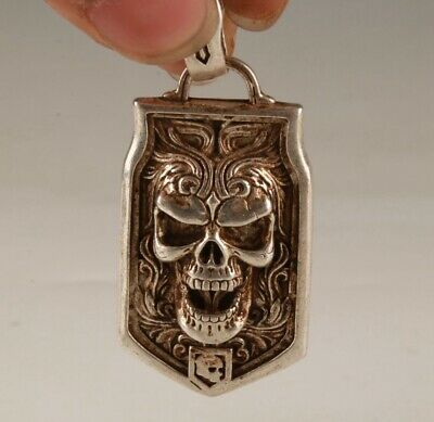 Chinese Tibetan Silver Handmade Carving Skull Pendant Cool Gift Collection