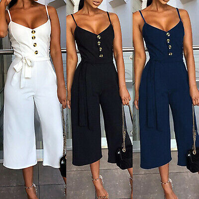 Womens Strappy Playsuit Summer Sleeveless Beach Romper Loose Wide Leg Jumpsuit