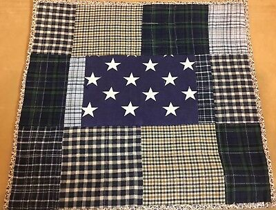 Patchwork Quilt Wall Hanging, One Patch, Navy Blue, White, Plaids, Checks, Stars