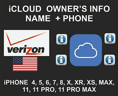 iCloud Owner info, Name and Number, iPhone and iPad IMEI only, Verizon USA
