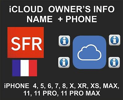 iCloud Owner info, Name and Number, iPhone and iPad IMEI only, SFR France
