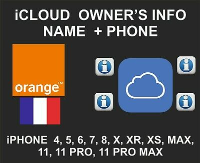 iCloud Owner info, Name and Number, iPhone and iPad IMEI only, Orange France