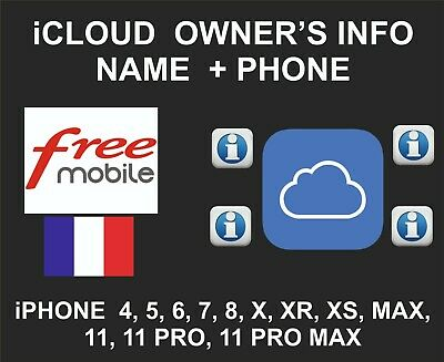 iCloud Owner info, Name and Number, iPhone and iPad, by IMEI, Free Mobile France