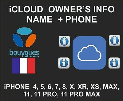 iCloud Owner info, Name and Number, iPhone and iPad, by IMEI, Bouygues France