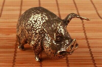 Chinese Bronze Hand Casting Pig Figurines Statues Auspicious Gift Collection