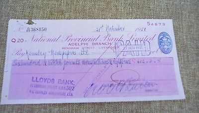 National Provincial Bank Limited Cheque 1951