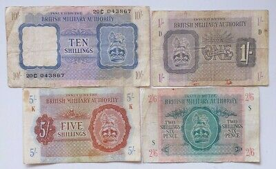 British Military Authority 1 ; 2/6 ; 5 ; 10 ;  Shillings 1943   BMA - Set 4 note