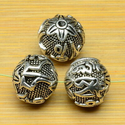 3Pcs Carved Pattern Metal Ball Spacers Beads Findings 14X14X13Mm Solid Copper
