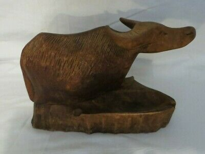 Vintage Hand Carved Wooden Water buffalo Ashtray