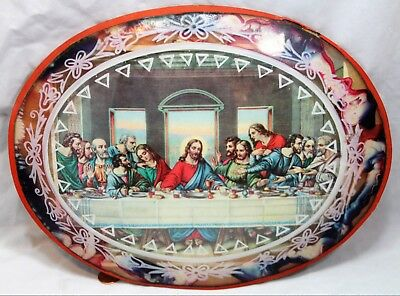 Vintage Jesus Christ The Last Supper in Awesome Glass Dome Oval Frame - Easter