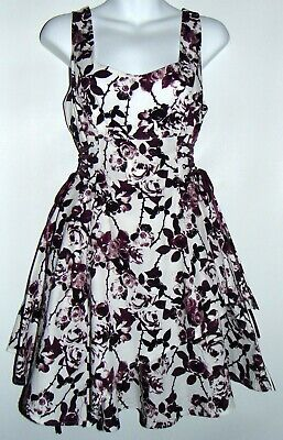 a118e67d47 Hot Topic Gothic Purple Rose Thorns Fit Flare Floral Dress Side Lace-Up Sz  SMALL
