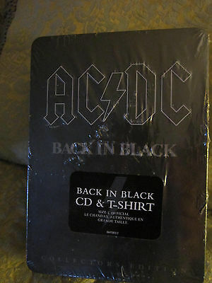 Ac/Dc Back In Black Cd & T-Shirt Collectors Edition Tin Set,New