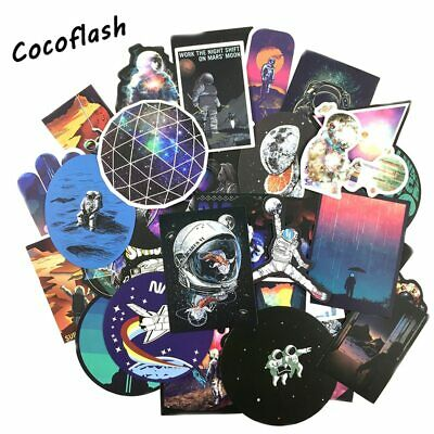 100Pcs Space Stickers Alien Spaceship Stickers for Skateboard Laptop Car Luggage