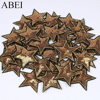 10pcs Sequined Star Patch Glitter Stars Stickers DIY Fabric Appliques Embroidere