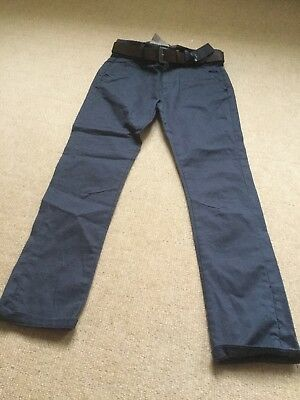 New With Tags Blue Grey Skinny trousers With Belt By Next Age 9 Years