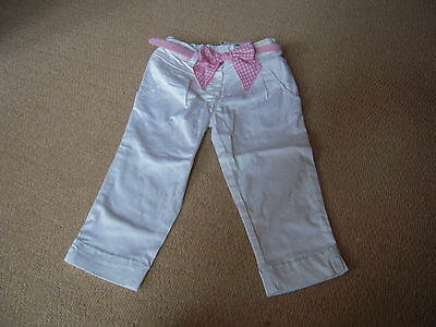 BNWT White Trousers with Pink Bow Belt in Size 3-4 Yrs by Next