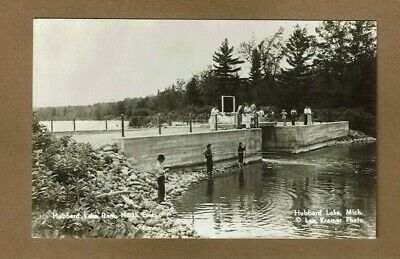 RPPC Hubbard Lake,MI Michigan North End Dam, watchers and fishermen used 1945