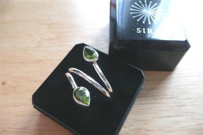Green Peridot 925 Sterling Silver Teardrop Design Crossover Ring Sz R Us Sz 9