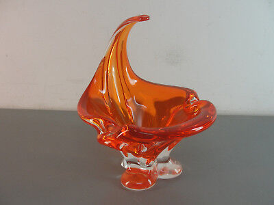 CHALET ART GLASS CIGAR ASHTRAY 50's BRIGHT ORANGE SIGNED CANADA w/HANDLE VINTAGE
