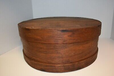 "Antique Primitive 16"" dia. Round Shaker Pantry Bentwood Storage Box 1800's!"