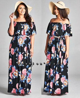 f616ea8ee433 PLUS SIZE RUFFLE Romantic Pink Floral Off Shoulder Maxi Dress Xl 1X ...