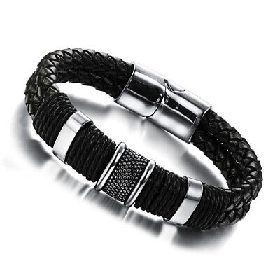 Mens Leather Braided Wristband Bracelet Stainless Steel Magnetic Clasp