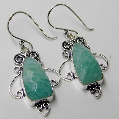 Faceted Amazonite Jewelry 925 Sterling Silver Plated Handmade Earring 7 Gm N110