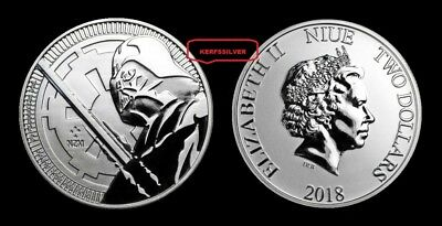 2018  Darth Vader Star Wars  Silver Coin  $2 Niue 1 Oz .999  Fine Silver Bullion