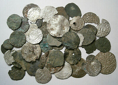 Lot of 46 Medieval Silver and Bronze coins, between 1300 - 1600