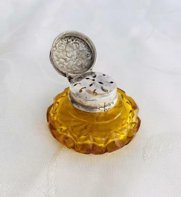 Antique Amber Perfume Scent Vinaigrette Bottle Silver Lid Circa 1880