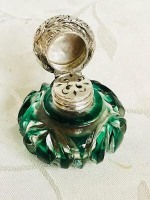 Antique Green Overlay Perfume Scent Vinaigrette Bottle Silver Lid C1880