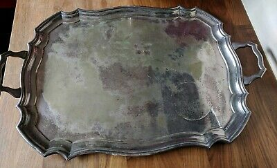 Large Antique Electro Plate Silver Tray by Harrison Fisher & Co Sheffied