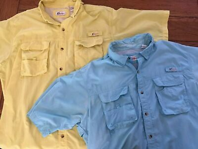 c98c3496 Lot of 2 World Wide Sportsman Fishing Shirts Men's 2XL Tactical Yellow ...